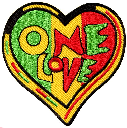 One Love heart rasta Judah flag reggae retro weed pot embroidered applique iron-on patch new