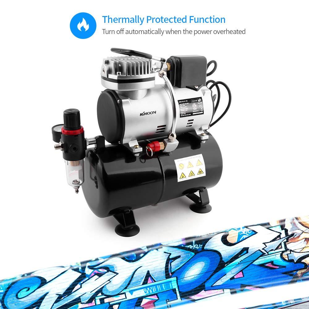 KKmoon Compresor de aerógrafo 1/6 HP, silencioso, bomba de alta presión silenciosa, tatuaje, manicura, compresor de salpicaduras con tanque: Amazon.es: ...