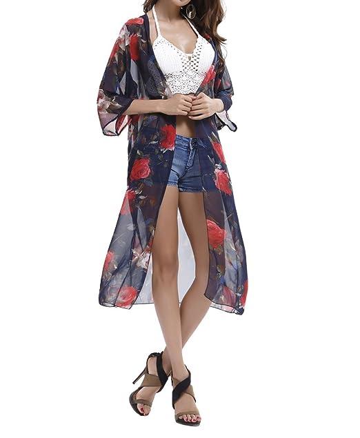 011444c0fdb Honeystore Women s 3 4 Sleeve Floral High Low Chiffon Kimono Cardigan Blouse  Royal Blue