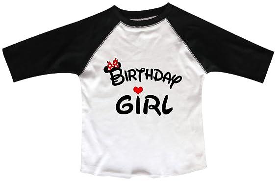 Amazon Girls Disney Birthday Raglan Girl Minnie Mouse Bow Toddler Youth 3 4 Sleeves Baseball Tee Clothing