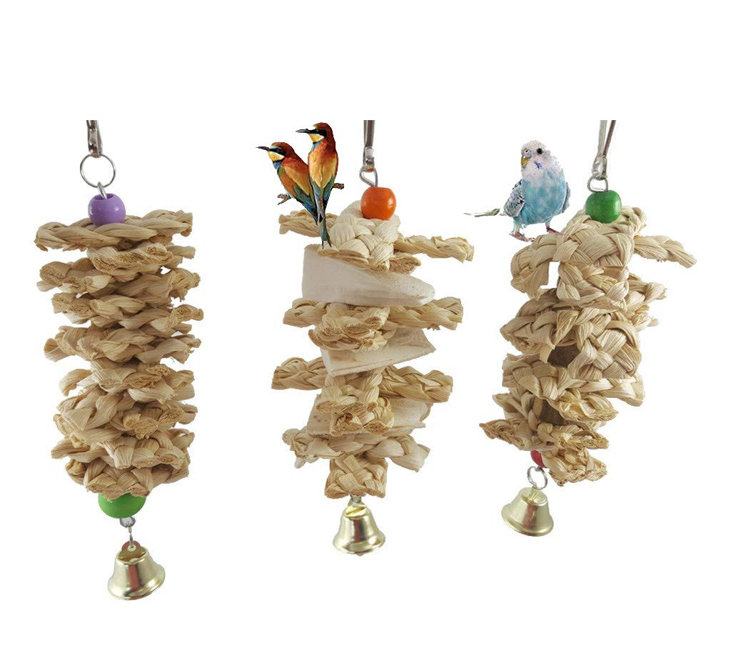 Whryspa 7 Packs Bird Swing Chewing Toys- Parrot Hammock Bell Toys Suitable for Small Parakeets, Cockatiels, Conures, Finches,Budgie,Macaws, Parrots, Love Birds,A by Whryspa