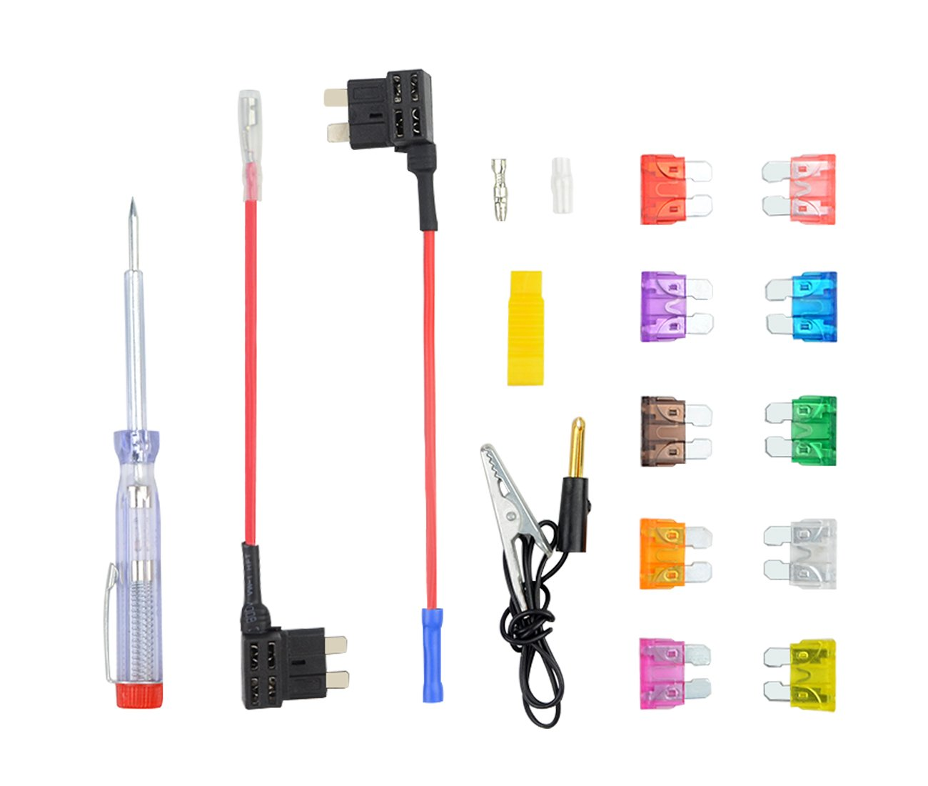 Auto Circuit Tester WGCD 100 PCS Car Truck Standard Blade Fuse Assortment Add Circuit Tap Adapter Bullet Terminal Connector for Boat Truck SUV Automotive Replacement