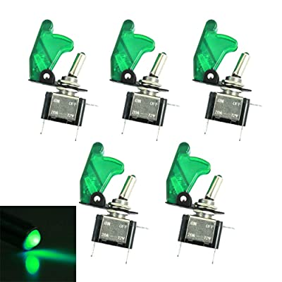 ESUPPORT Car Green Cover Green LED Light Rocker Toggle Switch SPST ON Off Pack of 5: Automotive