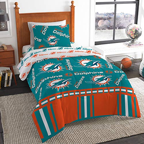 The Northwest Company NFL Miami Dolphins Twin Bed in a Bag Complete Bedding Set #407365429