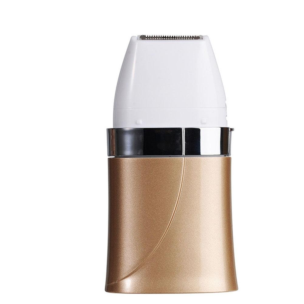 Lady Professionelle Elektrorasierer Epilierer, Modell ZL-T6607 Multi-Funktions-Batterie Typ KöRper Haarentferner, Wasserdichte SchöNheit Augenbraue, Weiß / Champagner