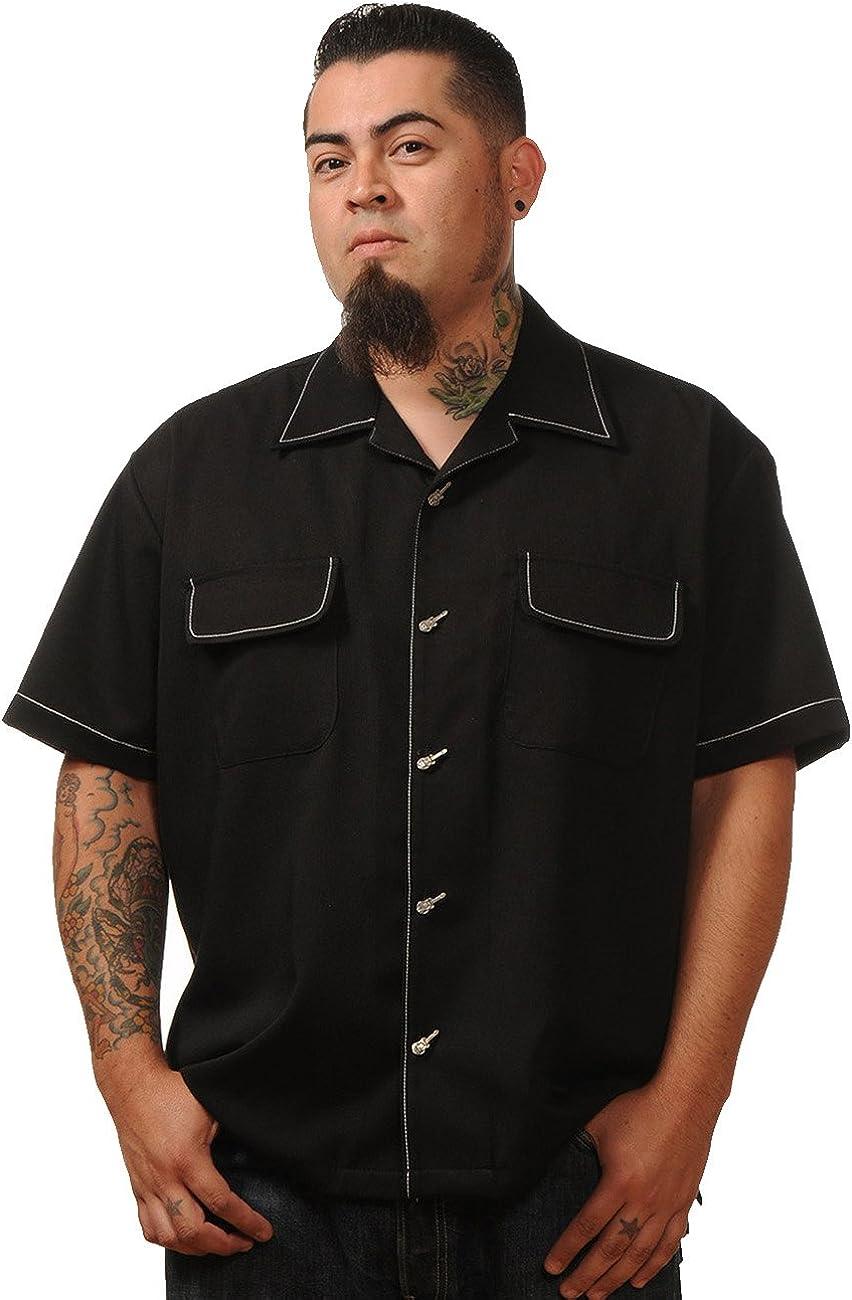 Steady Clothing Hombre Vintage Bowling camisa – Musician Retro Bolos Camiseta Negro: Amazon.es: Ropa y accesorios