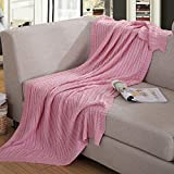 Prosshop Crocheted Blanket Fashion Handmade Super Soft Warm Twist Cotton Cable Knitting Throw Sleeping Cover Blanket Rug for Kids or Adults Bedroom Sofa/Bed/Couch/Car/ Quilt Living Room/ Office (Pink)