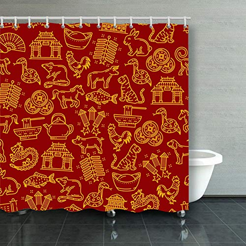 ong8 Chinese Pattern Lunar Year Signs Backgrounds Textures Animal Backgrounds Textures Religion Animal Religion Shower Curtain Polyester Fabric Bathroom Decor Sets with Hooks 60 x 72 Inches