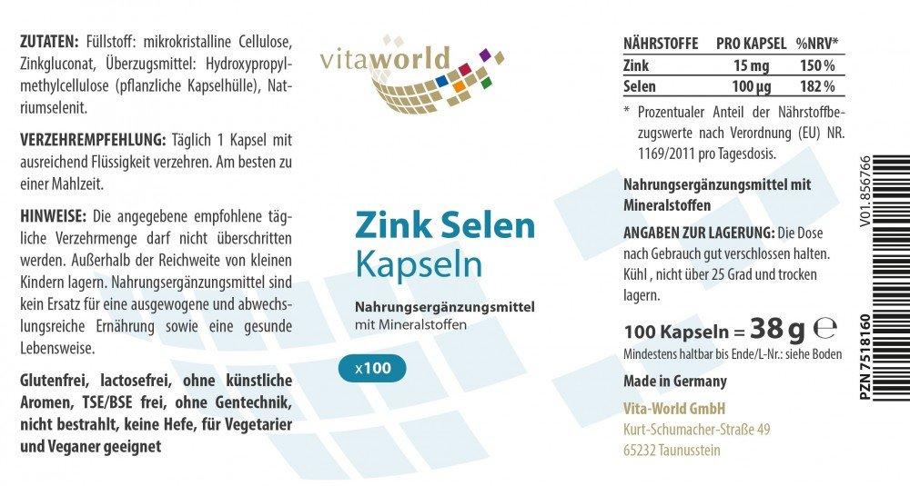 Zinc 15mg - Selenio 100mcg 100 Cápsulas Vita World Farmacia Alemania: Amazon.es: Salud y cuidado personal