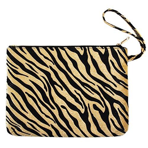 - Me Plus Women's Clutch Pouch Wristlet Purse Bag Zipper Closure (2 Patterns) (Zebra-Beige)