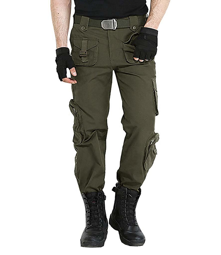 CRYSULLY Men's Fall Cotton Multi-Pockets Work Pants Tactical Outdoor Military Army Cargo Pants (No Belt) SKYL-82