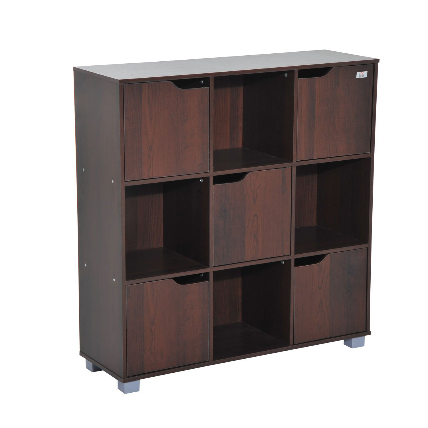 HOMCOM Cubic Bookcase Multi-Cells Bookshelf Indoor Office Home Storage Unit Cabinet (8 Cubes, Dark Coffee) Sold By MHSTAR