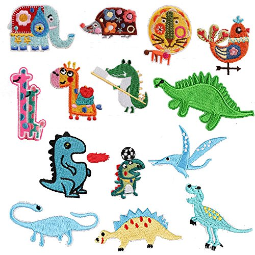 Sewing Patch Jeans - Iron On Assorted Applique Patches Dinosaurs Animals Sew On Embroidered Fabric DIY Sewing Accessories for Kids Clothing Jeans Pants Backpack (14pcs)