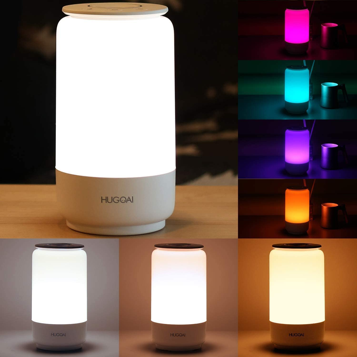 Amazon Com Led Lamps For Bedroom Hugoai Bedside Lamp Tunable Warm To Cool White Lights Dimmable Brightness And Rgb Color Changing Led Table Lamps Night Light Mode White Home Improvement