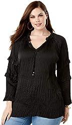 fa2816839c85c Roamans Women s Plus Size Notch Neck Ruffle Top