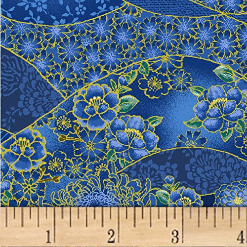 Asian Quilting Fabric - Oasis Fabrics Asian Garden Floral Swirl Metallic Royal/Multi Fabric by The Yard,