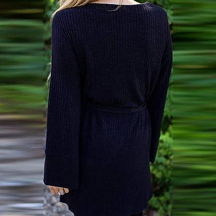 Luckycat Mujeres Manga Larga Vendaje O Cuello Camisetas de Punto Tops Sueltos Ocasionales Blusa túnica: Amazon.es: Ropa y accesorios