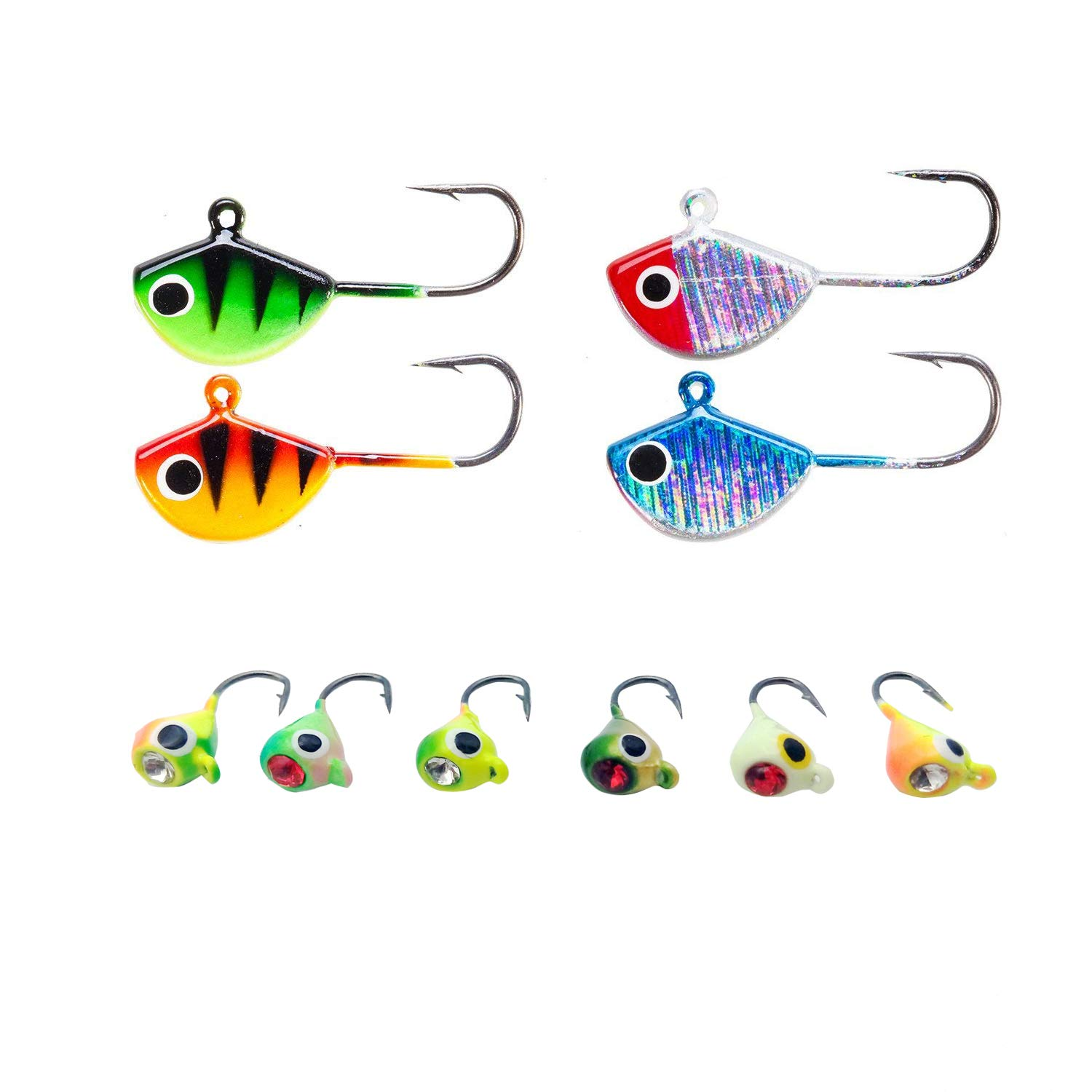 Amazon com : Basstrike Ice Fishing Jigs Lead Head Glow Jigs