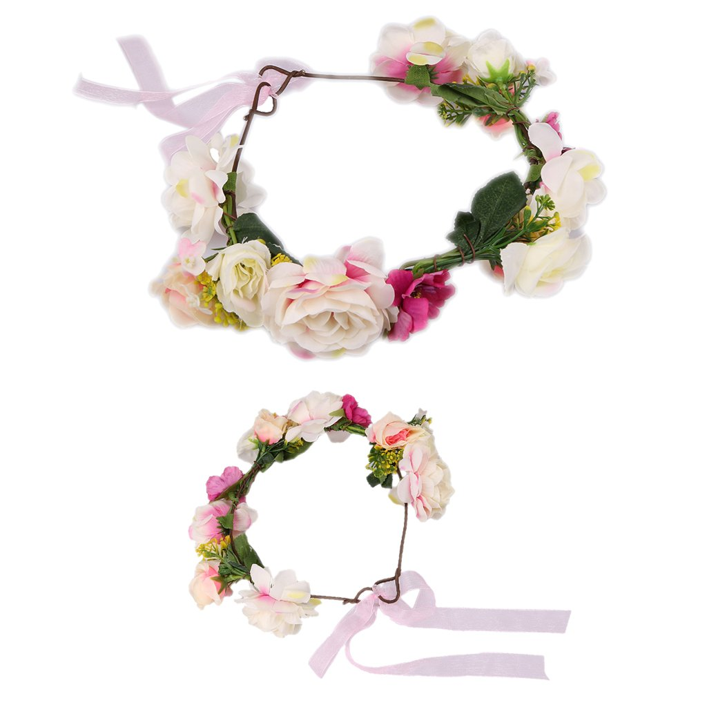 Sharplace 2pcs Mom Baby Flower Boho Headband Garland Festival Wedding Bridal Hairband