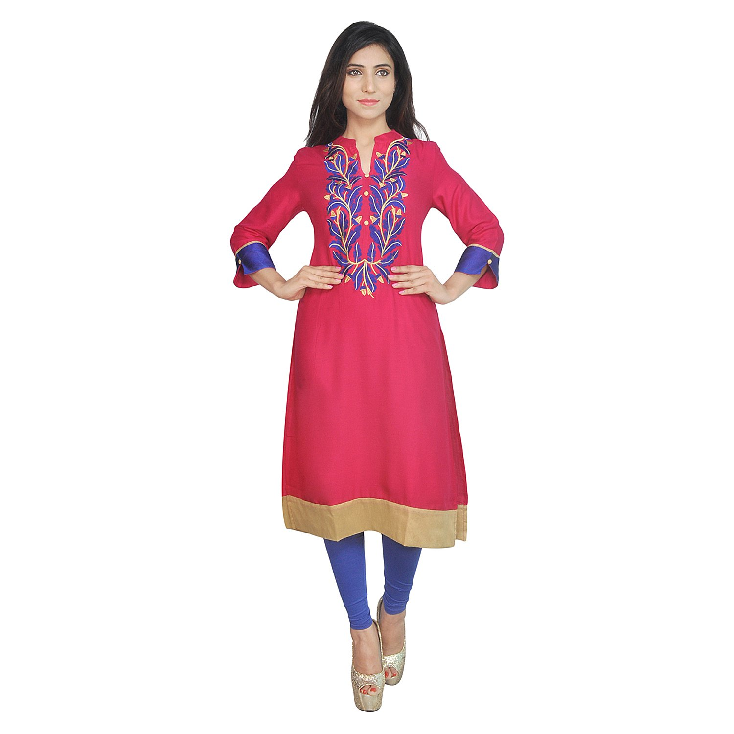 Chi Chi Chichi Women 3/4 Sleeve Tunic Top Embroidered Kurti Blouse by CHI (Image #2)