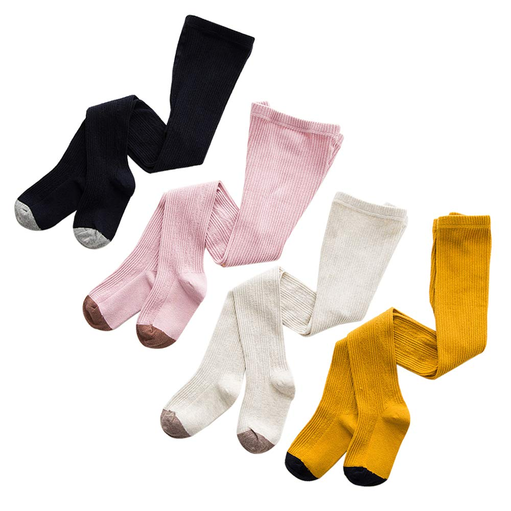 4 Pack YANN Baby Tights Toddler Leggings Pantyhose for Baby Girls Cute Cable Knit Cotton Pants Stockings