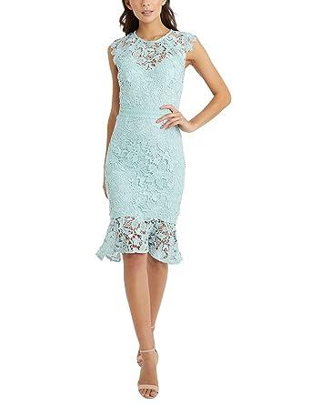 LIPSY Women Lace Flute Hem Midi Dress Blue US 4 (UK 8)