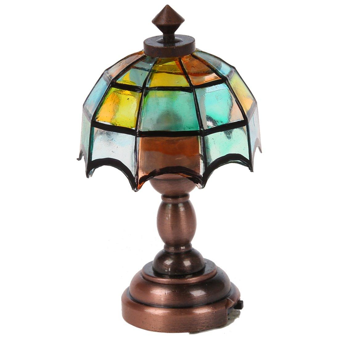 SODIAL (R) Bronce Metal 1:12 hogar miniatura LED lampara de escritorio con el forma de paraguas multicolor pantalla de lampara modelo SODIAL(R) 026828