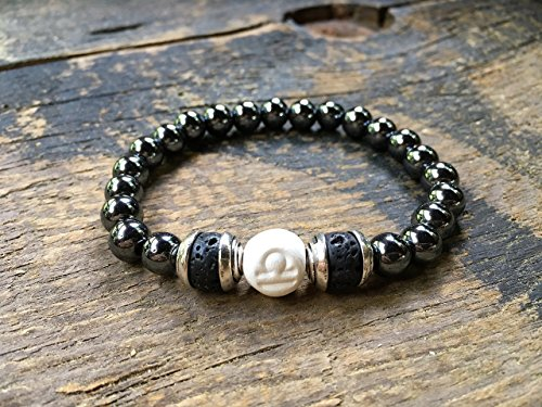 Men Zodiac Libra Bracelet, Clay | Hematite | Lava Beads, Essential Oil Diffuser, Astrology Jewelry, 9MM Round