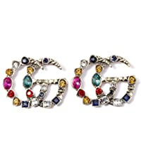 Luxury Letter G Pearl Initial Stud Earrings Colorful Crystal Dangling Drop Statement Earrings for Women Girls By MANIHO