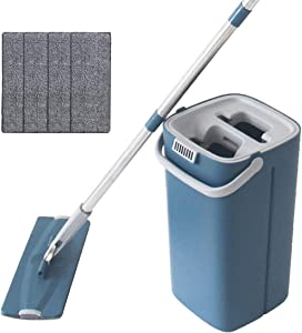 WEWLINE Flat Floor Mop and Bucket for Floor Cleaning Mop with Dry & Wet Bucket, 4-Washable & Reusable Microfiber Pads 360°Flexible Head Stainless Steel Handle Perfect for Home Kitchen