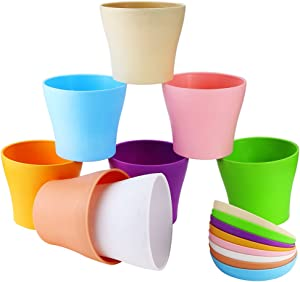 """Weoxpr 8 Pack 5"""" Multicolored Plastic Flower Plant Pots Thickened Seedlings Nursery Pot Planter with Saucer Pallet"""