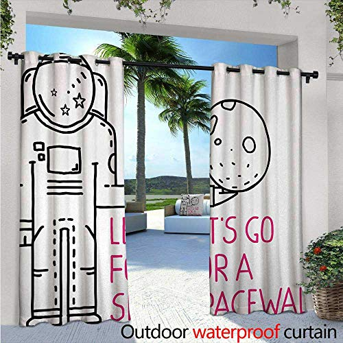 Outer Space Exterior/Outside Curtains W72 x L108 Space Walk Quote with a Man Romance Love in Stars Minimalist Design Image for Patio Light Block Heat Out Water Proof Drape Black and Pink