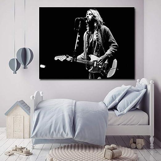 WJY Kurt Cobain Guitarra Solos Impresión de Aceite Poster Wall Art ...