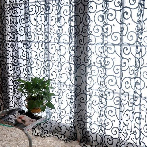 Solid Sweet Floral Tulle Voile Door Window Curtains Black - 7