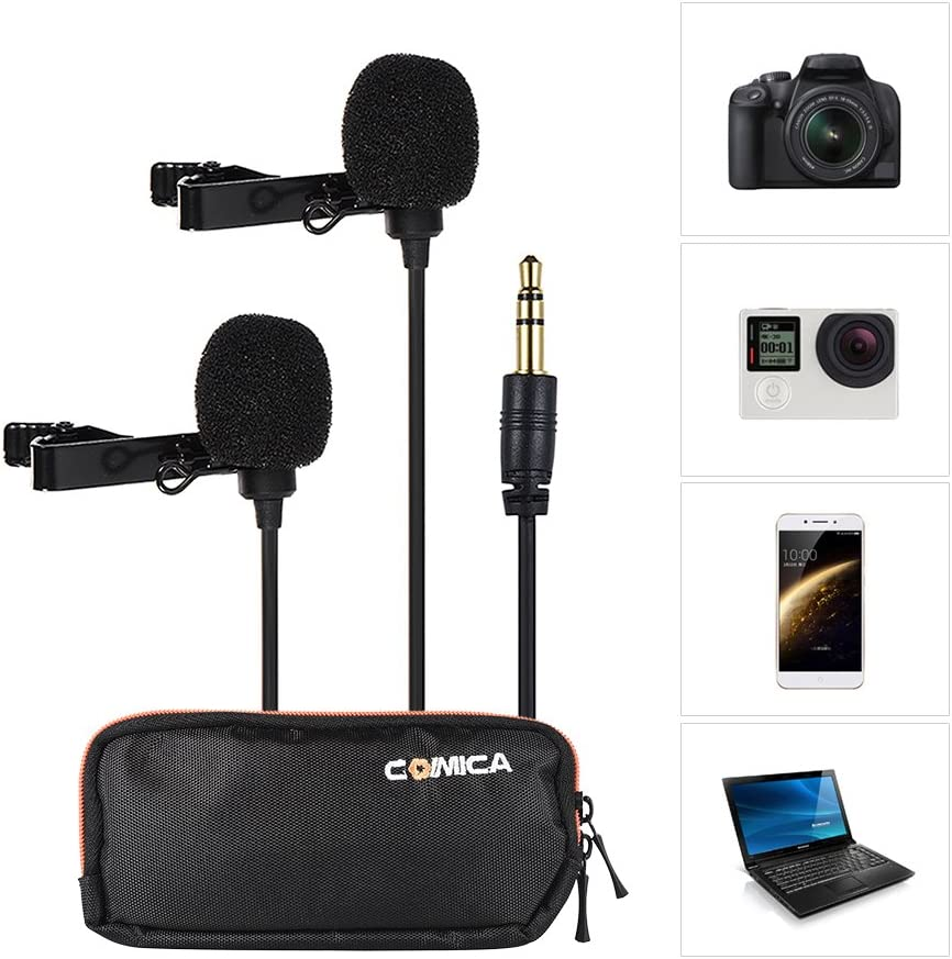 Andoer Dual-Head Lavalier Lapel Microphone Clip-on Omnidirectional Condenser Mic for Canon Nikon Sony A7 A6300 Camera for iPhone 6 6plus Smartphone for GoPro Hero 4//3+//3 Action Camera