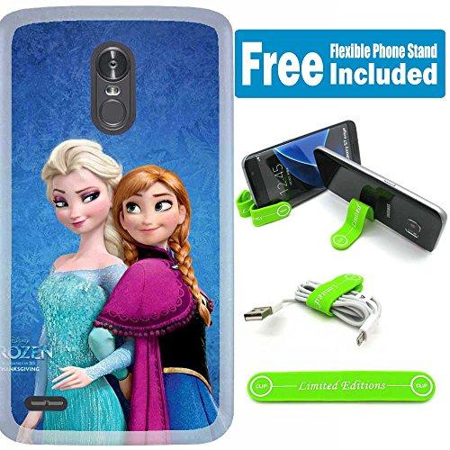 - [Ashley Cases] for LG [K20] [K20 Plus] [K20 V] [Harmony] [Grace LTE] [LV5] Cover Case Skin with Flexible Phone Stand - Frozen Elsa Anna