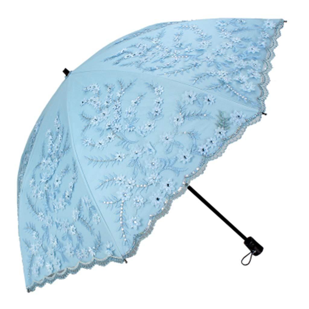 Goquik Double-Layer High-Grade Sun Umbrella Ladies Sun Protection UV Embroidery Umbrella Color Plastic Folding Umbrella Dual-use (Color : 5)
