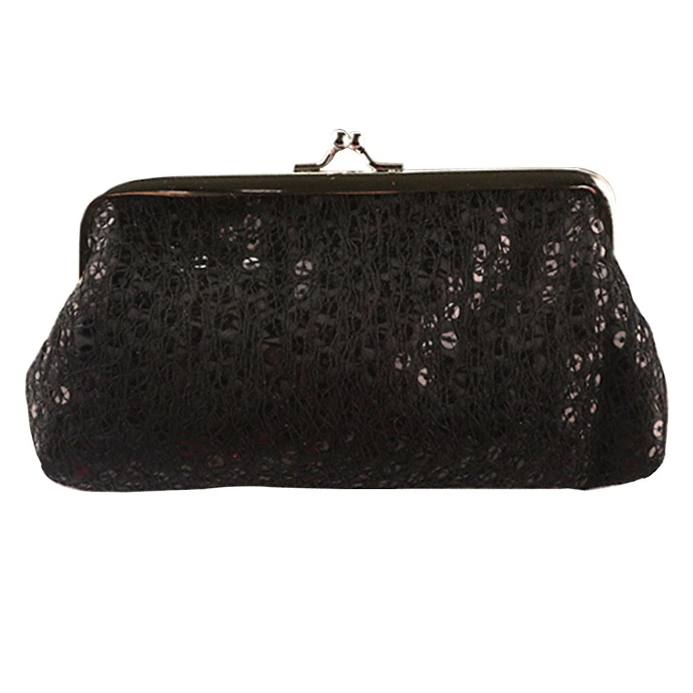Shuohu Women Sequins Buckle Clutch Evening Party Bag Phone Handbag - Black