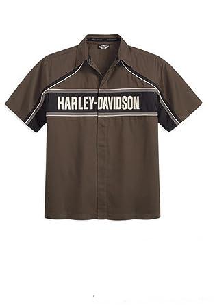 Harley-Davidson Men 96539-12VM Short Sleeve Shirt Color block Brown