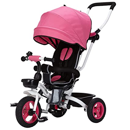 Kids Easy Steer Tricycle 3 Ruedas Toldo Seguro con Asiento Giratorio, Cochecito con Pedal Oxford