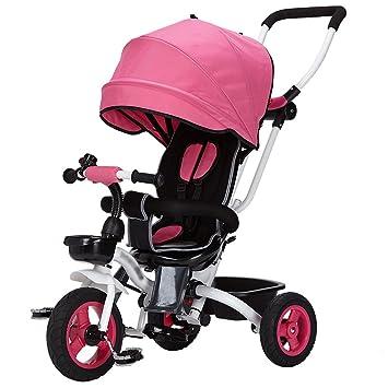 Kids Easy Steer Tricycle 3 Ruedas Toldo Seguro con Asiento Giratorio, Cochecito con Pedal Oxford de Tela Carrito para bebés (Color : Red): Amazon.es: Hogar
