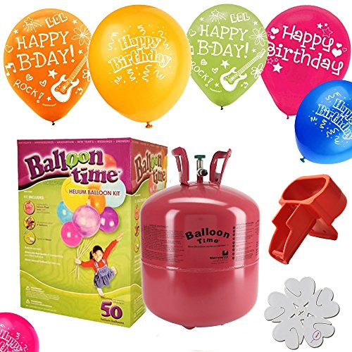 Disposable Helium Tank   50  Happy Birthday Balloons    Helium Tank Kit