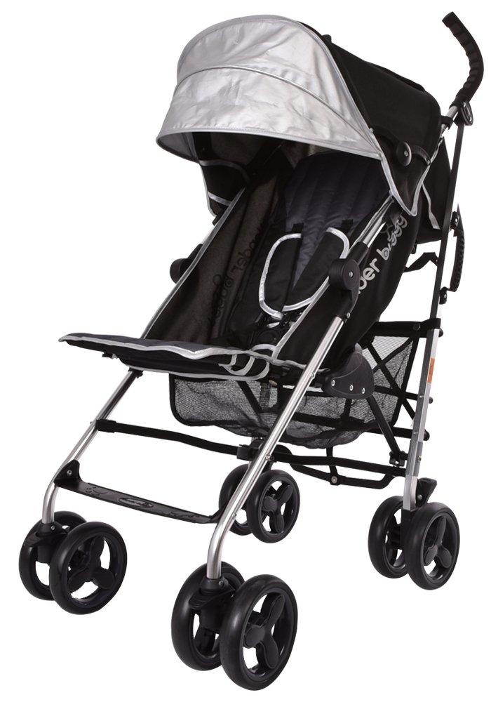 Lightweight Stroller, WonderBuggy Baby Stroller Extra Large Canopy with 5-Point Safety System and Multi-Positon Reclining Seat, Black