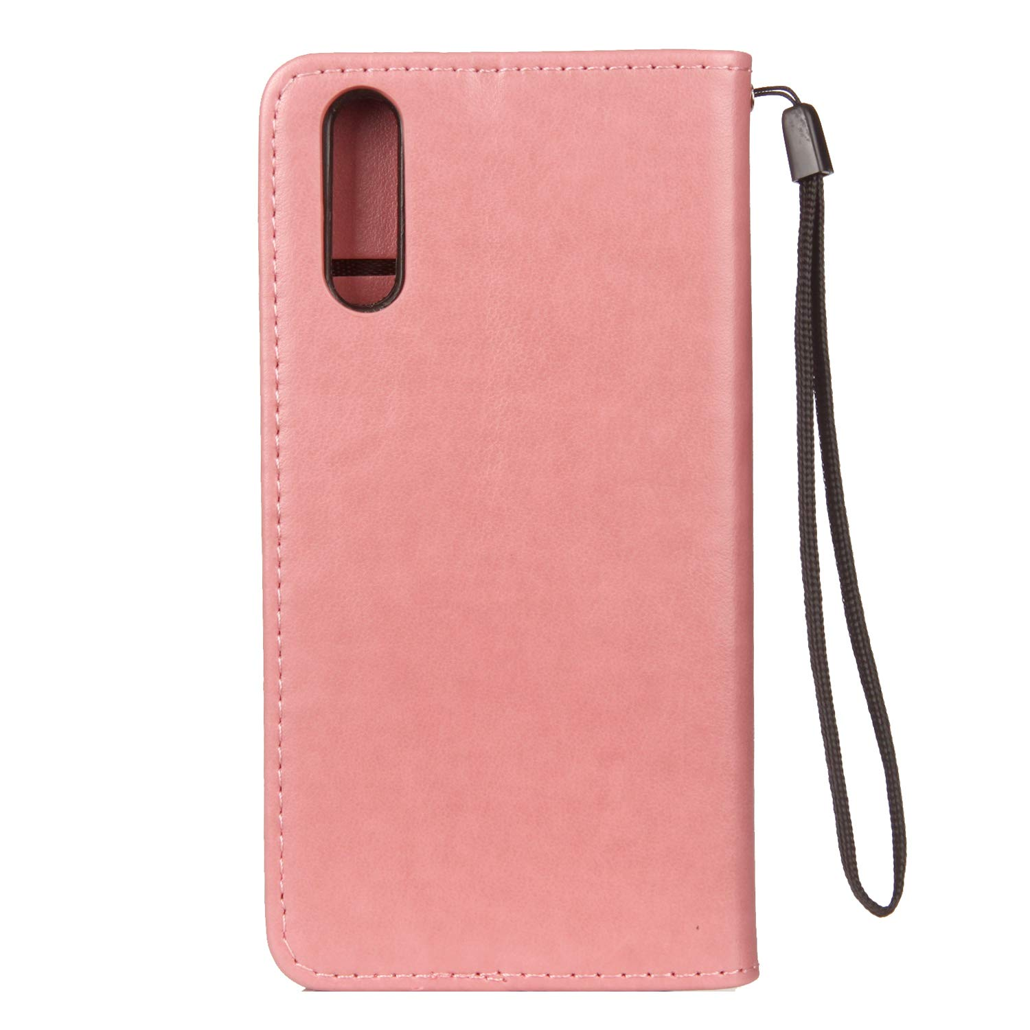 Ostop Huawei P20 Wallet Case,Purple PU Leather Case,Cute Cat Love Fish Embossed Printed Stand Purse Cover with Credit Card Slots Magnetic Flip Full Body Protection Shell