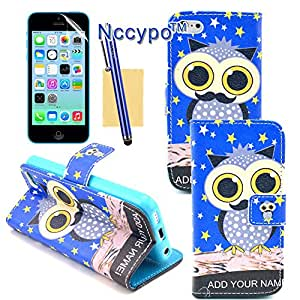 iPhone 5C Case, Nccypo Cute Cartoon Blue Mustache Owl Stars Pattern PU Leather Stand Wallet Type Magnet Flip Case Cover with Credit Card Slots,Stylus,Screen Protector and Cleaning Cloth For Apple iPhone 5C