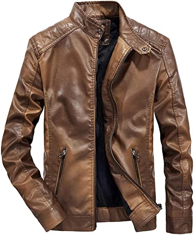 YUTAO Mens Casual Stand Collar Slim Faux Leather Sleeve Bomber Jacket