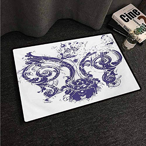 - HCCJLCKS Washable Doormat Fleur De Lis Digital Grunge Lily Emperor Flag Victorian Kingdom Imperial Theme Print Machine wash/Non-Slip W31 xL47 Purple White