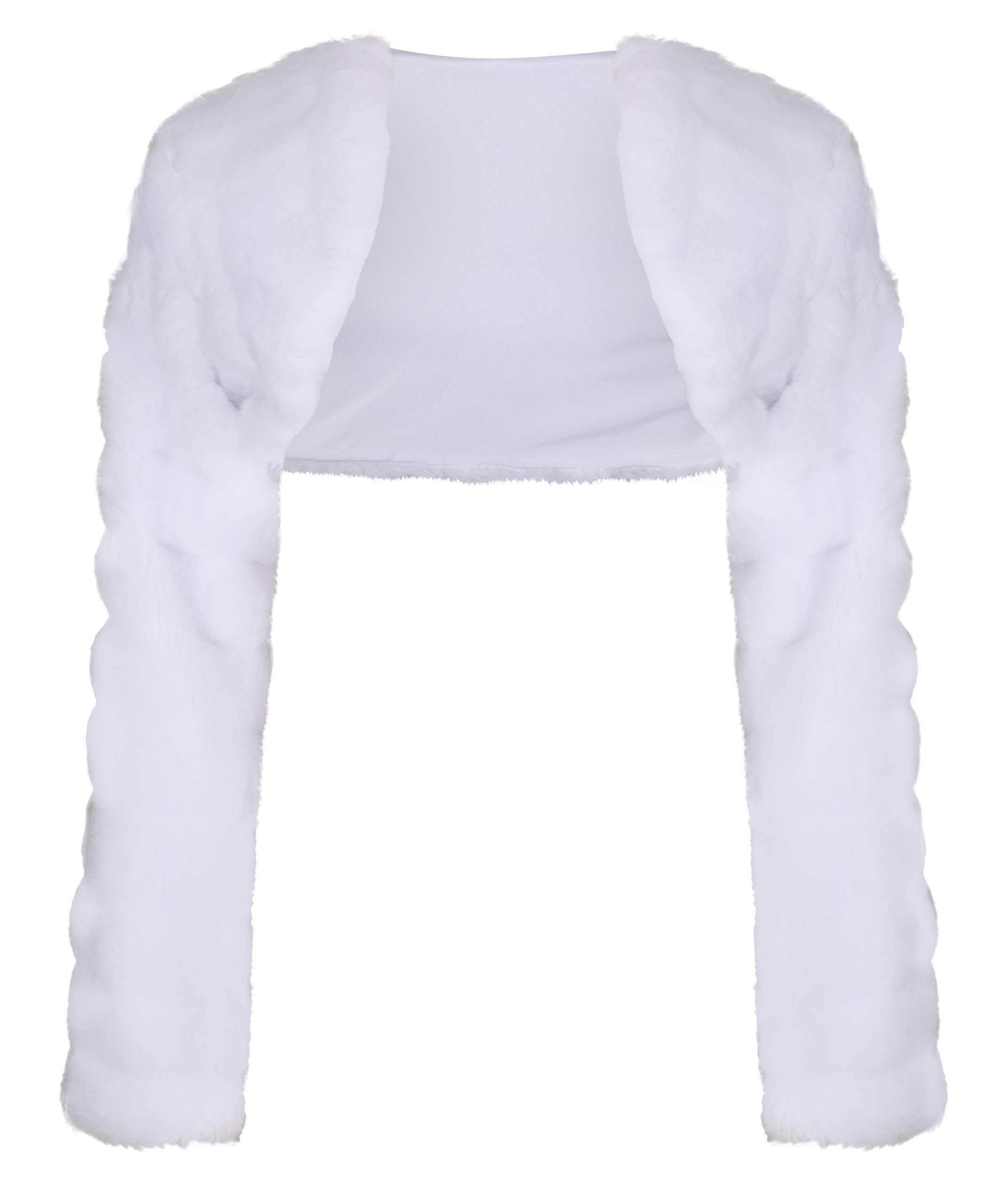OssaFashion-BridalWear Flower Girls Wedding Communion Faux Fur Bolero Jacket Shrug Long Sleeve 2-13yrs