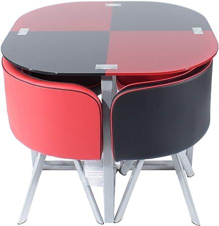 Juego de mesa de comedor Charles Jacobs con 4 sillas, acolchado, ahorro de espacio: Amazon.es: Hogar