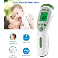 MEDITIVE Infrared Non-Contact Forehead Fever Thermometer for Baby Kids Infants and Adults Body/Surface/Room Temperature